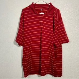 Nike Golf Men's Red Collared Striped Shirt XXL